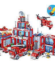 City Fire Department Puzzle Assembling Building Block Toy Helicopter Fire Truck 4-15 Years Old Toys Gift
