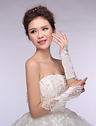 Satin/Lace Bridal Gloves Elbow Length Wedding/Party Embroidery Glove White