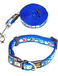 Cat / Dog Collar / Leash Footprint/Paw Red / Blue / Purple Nylon