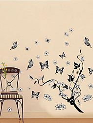 Classical Black Tree Vine Flying Butterfly Wall Decal Zooyoo7005 Decorative Removable Pvc Wall Sticker