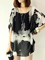 Women's Casual Print Inelastic ½ Length Sleeve Long Blouse (Chiffon)