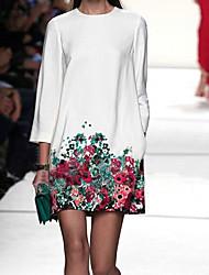 vestido de la impresión floral de cuello redondo de las mujeres