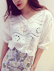 Women's Casual Embroidered Batwing ½ Length Sleeve Regular Blouse (Cotton)