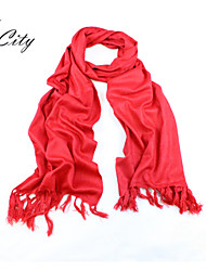 Women Elegant Chinese Red Scarf Shawl with Long Tassels