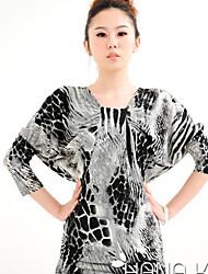Vestidos ( Algodón Compuesto )- Casual Tiro Medio ¾ Manga para Mujer