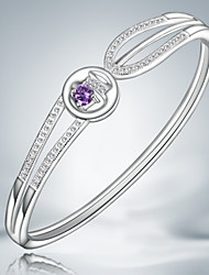 Hot Selling Products Casual Heart S925 Silver Plated Cuff Bracelet with Zircon Fine Accessories for Women