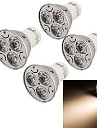 3W GU10 LED Spot Lampen 3 High Power LED 240 lm Warmes Weiß Dekorativ AC 85-265 V 4 Stück