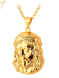 U7® Unisex Clear Rhinestone 18K Real Gold/Platinum Plated Sacred Jesus Sculpture Pendant Necklace