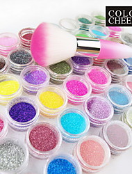 48-color Glitter Powder Nail Art Decorations With Nail Art Dusting Brush
