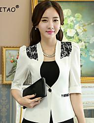 Women's Blue/Pink/White Blazer , Casual/Work ½ Length Sleeve