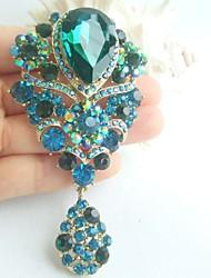 Women Accessories Gold-tone Turquoise Rhinestone Crystal Flower Brooch Bridal Bouquet Art Deco Women Jewelry