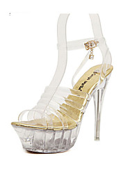 Women's Shoes T-Strap Stiletto Heel Sandals with Buckle and Rhinestone Shoes