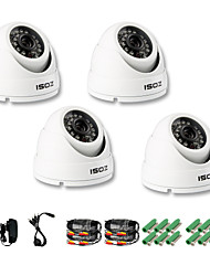 ZOSI® 4 pcs Camera Kit 800TVL IR Cut Waterproof Outdoor Day Night CCTV Seurity Dome Camera