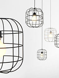 Mini Artistic Birdcage Pendant Lamp/1 Light/Mordern Simplicity/Finish Black/White/Metal/Carbon Steel Droplight