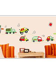 pegatinas de pared etiquetas de la pared, lindo colorido de pvc extraíbles los coches de dibujos animados pegatinas patrón.