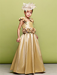 A-line Princess Floor-length Flower Girl Dress - Taffeta Straps with Flower(s) Sash / Ribbon
