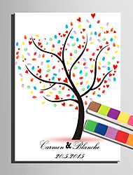 E-HOME® Personalized Fingerprint Painting Canvas Prints -Love Tree (Includes 12 Ink Colors)