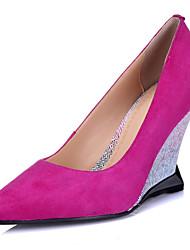 Women's Shoes Cashmere Wedge Heel Pointed Toe Pumps/Heels Wedding/Dress Black/Red