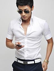 Men's Work/Formal Pure Short Sleeve Regular Shirts (Cotton Blends)