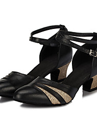 Non Customizable Women's Dance Shoes Latin Flocking Low Heel Black