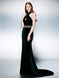TS Couture Formal Evening Dress - Dark Green Plus Sizes / Petite Trumpet/Mermaid Halter Court Train Velvet