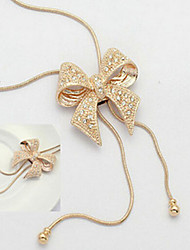 Korea And Korean Jewelry Hot Selling Rhinestone Bow Necklace