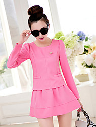 Women's Long Sleeve Dress Two-piece Round Collar Cultivate one's Morality Small Sweet Wind Skirt Suit