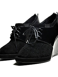 Women's Shoes Leather Wedge Heel Wedges/Pointed Toe Pumps/Heels Dress Black