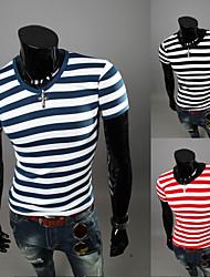 Katoen/Katoenmix - Gestreept - Heren - T-shirt - Informeel - Korte mouw