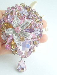 Women Accessories Silver-tone Multicolor Rhinestone Crystal Brooch Art Deco Dangling Flower Brooch Bouquet Women Jewelry
