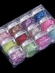 12PCS Mixs Color Glitter Sequins UV Color Gel for Manicure Nail Tips