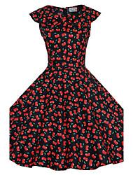 De las mujeres Vestido Tallas Grandes / Vintage / Fiesta / Para Trabajo / Casual Estampado Hasta la Rodilla Escote Redondo / Lazo Algodón