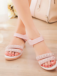 Women's Shoes Flat Heel Comfort/Ankle Strap/Round Toe Sandals Outdoor/Office & Career/Dress/Casual Blue/Pink/White