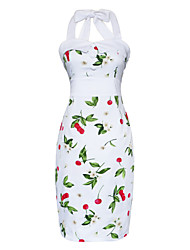 Maggie Tang Women's Halter 50s Vintage Rockabilly Marilyn Cherry Pinup Cos Party Pencil Dress 565