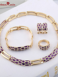 WesternRain Wedding Accessories Gold Plated jewellery Floating Charms Vogue Woman Costume African Purple Jewelry Sets
