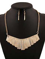 Vintage Zinc Alloy Tassel Pattern Jewelery Set(Earrings & Necklace)