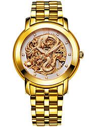 banda de piel de becerro bos de los hombres 'colección dragón chino' esfera de oro reloj automático de la muñeca mecánica