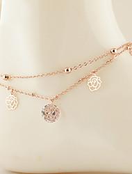 europäischen Stil Mode Crystal Rose Gold Zirkon Rosen Doppelschicht Fußkettchen Schmuck