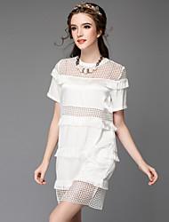 Heavy summer new code female star in same fertilizer increased burrs splicing grid dress