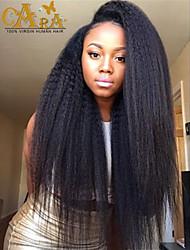 """8 """"-26"""" peruano recto rizado sin cola llena del cordón del color de la peluca del pelo virginal negro con el pelo del bebé para las mujeres negras"""