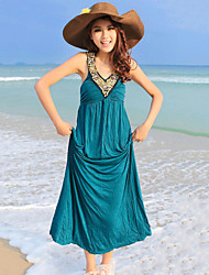 Women's Beach Solid Ball Gown Dress , Crew Neck Maxi Chiffon