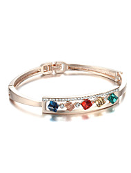 Sjewelry Girls Color Square crystal Rose Gold-Plated Bracelet