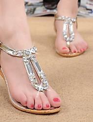 Sandales ( Caoutchouc/Simili Cuir , Or/Argent ) Talon plat - 0-3cm pour Chaussures femme