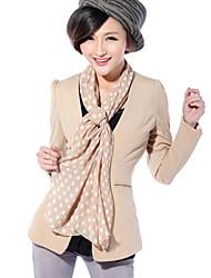 Women's Solid White/Black/Yellow Blazer , Party/Work Shirt Collar Long Sleeve