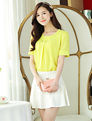 Women's Casual/Party/Work Micro-elastic Short Sleeve Regular Blouse (Chiffon)