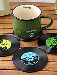 dessous de verre de vinyle mat millésime record cd groove boissons au bar de table tasse 1pc (couleur au hasard)