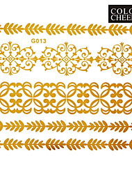 1Pc Gold Long Bracelet Tattoo Sticker 15x11.5CM