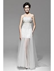 Sheath/Column Floor-length Wedding Dress -Strapless Lace