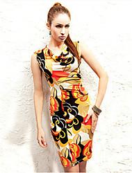Vestidos ( Algodón Compuesto )- Sexy Redondo Sin Mangas para Mujer
