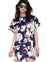 Flower Print Vestidos 2015 New Vintage Style Straight Boho Casual Dress Short Sleeve Novelty Women Summer Dresses